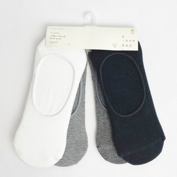 Womens Liner Socks Heel grips 6-pack